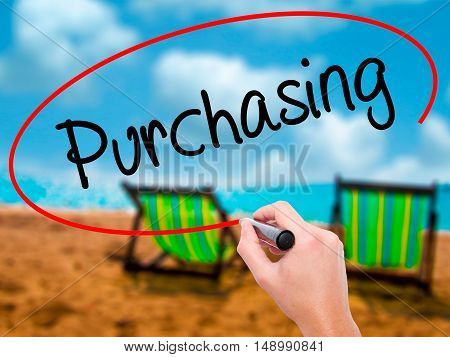 Man Hand Writing Purchasing With Black Marker On Visual Screen.