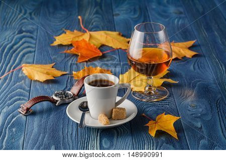 Coffee And Cognac On Blue Wood Table