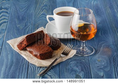 Coffee And Drink. Cup Of Coffee And Cognac Brandy Whiskey Aperitif In Modern Night Bar