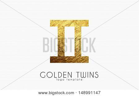 Golden twins. Golden zodiac sign. Twins zodiac