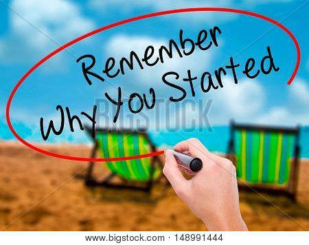 Man Hand Writing Remember Why You Started With Black Marker On Visual Screen