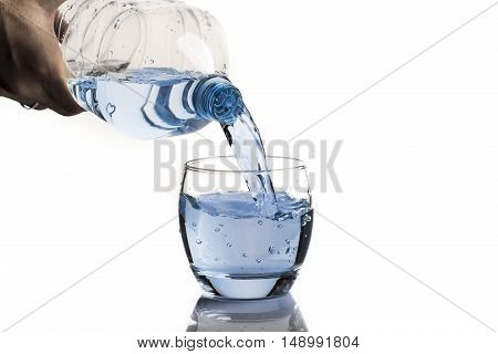 glass of fresh water isolated on white background