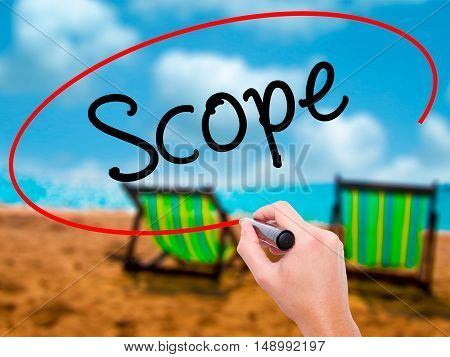 Man Hand Writing Scope With Black Marker On Visual Screen