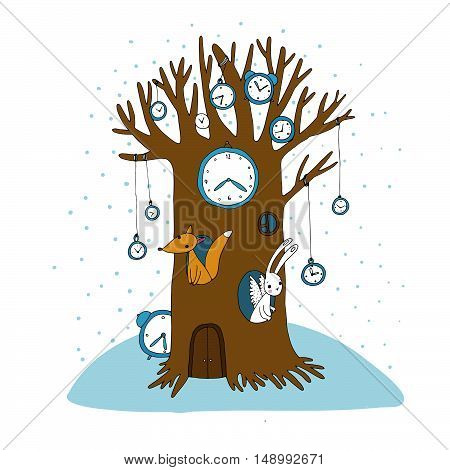 Magic tree, clock, fox and hare. Hand drawing isolated objects on white background. Vector illustration.