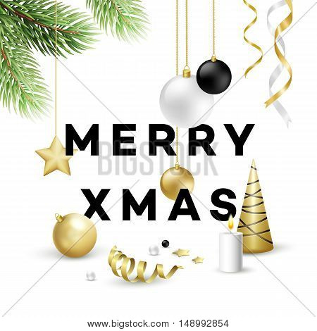 Traditional Christmas decoration elements. Modern card or poster designs. Vector illustration EPS10