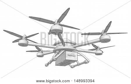 Drone delivers the goods. Volumetric vector illustration