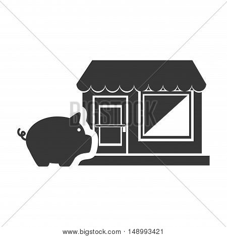 piggy moneybox with store icon silhouette. vector illustration
