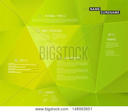 Creative cv template with 3d effect on green background.