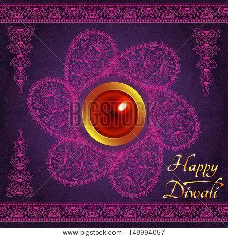 Purple color card design for Diwali festival with lamp. Vector illustrstion.
