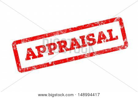 APPRAISAL, red rubber stamp with grunge edges.