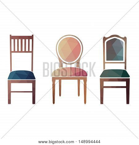 Set of colorful retro chairs. vector illustration in style triangular.
