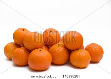 Hill ripe tangerines on a white background