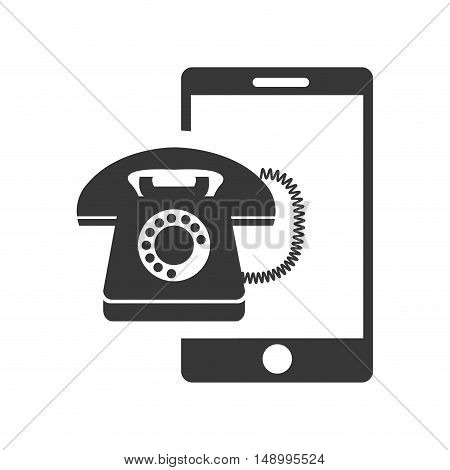 retro telephone device with smartphone icon silhouette. vector illustration