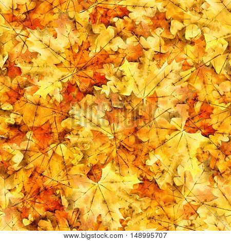 Bright seamless pattern with autumn maple leaves. Watercolor illustration