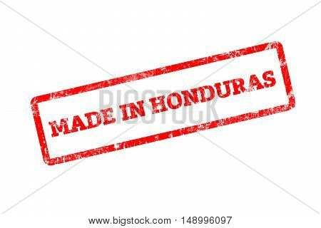 MADE IN HONDURAS, red rubber stamp with grunge edges.