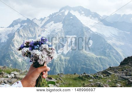 Bunch of wild flowers in hand over mountains view