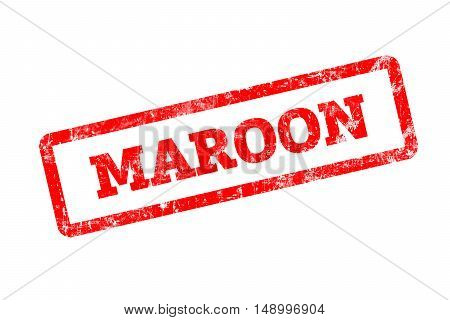 MAROON written on red rubber stamp with grunge edges.