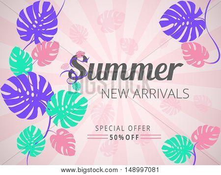 Colourful Summer New Arrivals Banner, Sale Poster, Sale Flyer, Sale Vector. 50 Off, Vector Illustrat