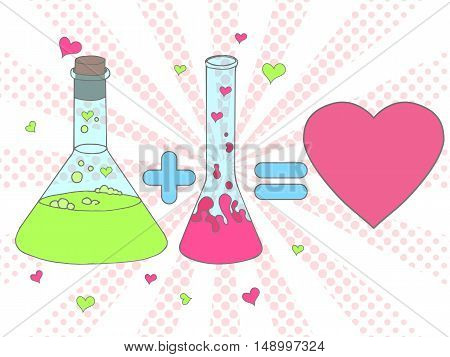 Colourful Love Chemistry Vector Illustration. Chemical Tubes In Hand Drawn Style. Test Tube With Lov