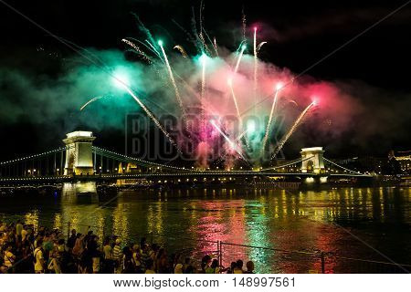 Budapest Hungary - 20 August 2016: Fireworks from the Chain Bridge during celebrations of St. Stephen's Day.