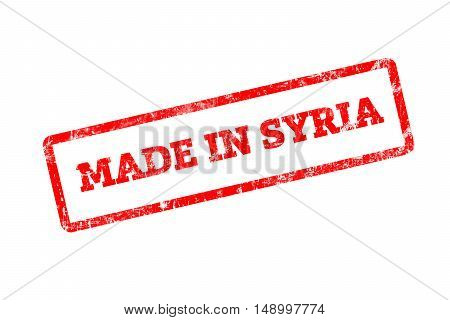 MADE IN SYRIA, red rubber stamp with grunge edges.