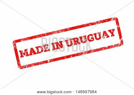 MADE IN URUGUAY, red rubber stamp with grunge edges.