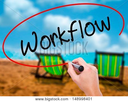Man Hand Writing Workflow  With Black Marker On Visual Screen.