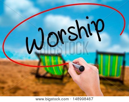 Man Hand Writing Worship With Black Marker On Visual Screen