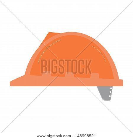 Orange Construction Safety Helmet Isolated On White Flat Vector Image