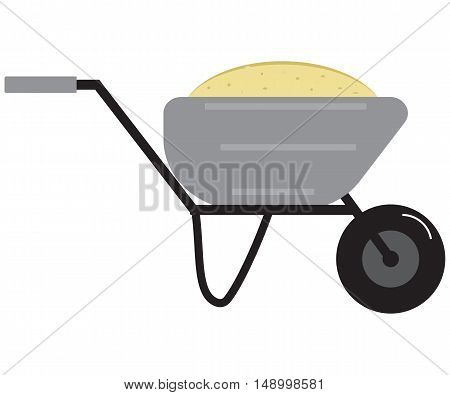 Flat Vector Image Of Wheelbarrow Filled With Sand