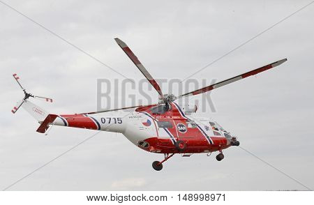 CZECH REPUBLIC, PLZEN, 30 SEPTEMBER, 2015:Czech rescue helicopter in action