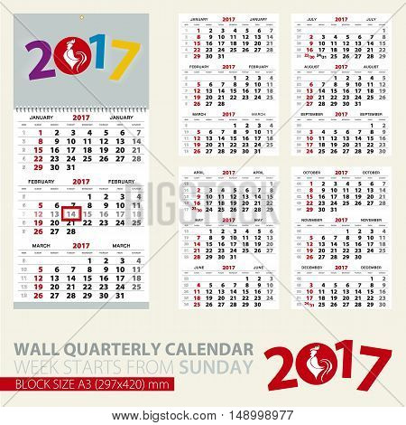 Calendar for 2017 year. Print template of wall quarterly calendar. Block size A3. Week starts from Sunday. 2017 with rooster image. Vector Illustration.