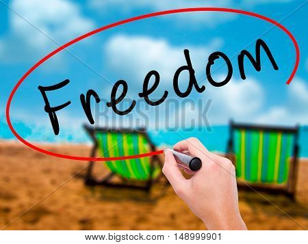 Man Hand Writing Freedom With Black Marker On Visual Screen