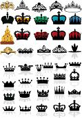 stock photo of queen crown  - illustration with crown collection isolated on white background - JPG