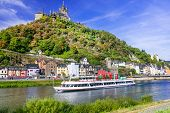 Romantic river cruises over Rhein - medieval Cochem town. Germany poster
