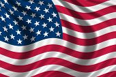 image of the united states america  - flag of the USA waving in the wind - JPG