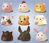 stock photo of farm animals  - Cartoon illustrations of farm animals and pets - JPG