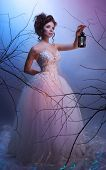 image of makeup artist  - Bride walking whit a lantern in her dream shoot with both continuous and instant flash light made with professional makeup artist and hairdresser - JPG