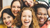 Diversity Women Socialize Unity Together Concept poster