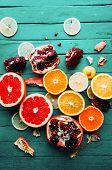 Fruit In A Cut Closeup, Grapefruit, Orange, Lemon, Tangerine, Fr poster