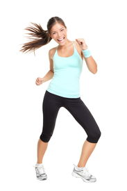 image of workout-women  - fitness woman exercising dance aerobics in full length isolated on white background - JPG