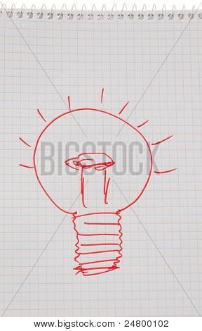 incidence and ideas with light bulb.