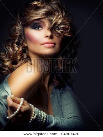 Fashion Beauty Portrait. Sexy Girl. Holiday Makeup