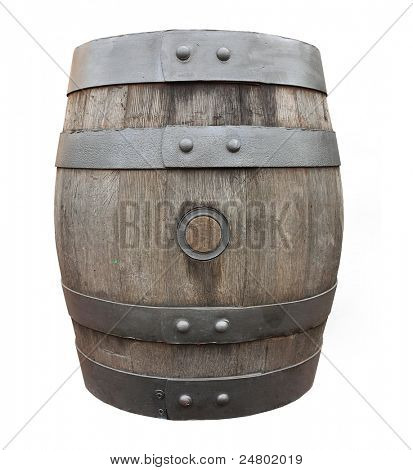 Antique oak barrel on a white background.