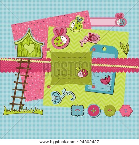 Scrapbook Design Elements - Cute Ladybugs And Flowers In Vector