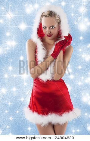 Sexy Santa Claus Girl Clapping Hands