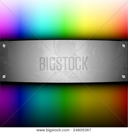 Steel Plate On Palette For Your Design. Vector Illustration