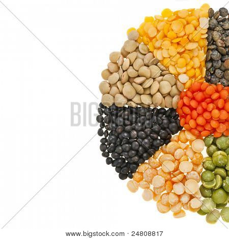 Mixture of dried lentils, peas, soybeans, legumes,beans