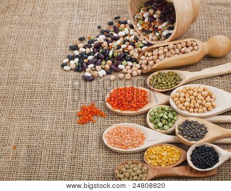 Mix from different beans, legumes, peas, lentils in wooden spoon on the sackcloth background