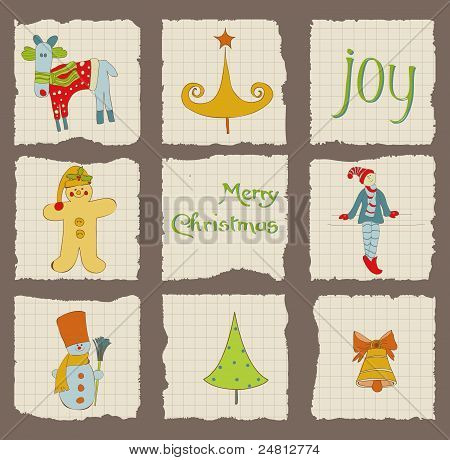 Christmas Design Elements On Torn Paper - For Scrapbook, Design, Invitation, Greetings